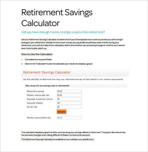 retirement and savings calculator pdf