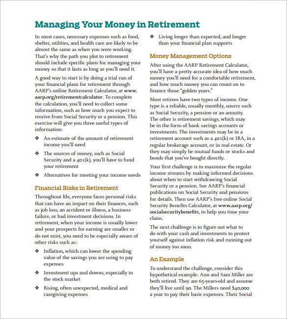 sample free retirement and savings calculator