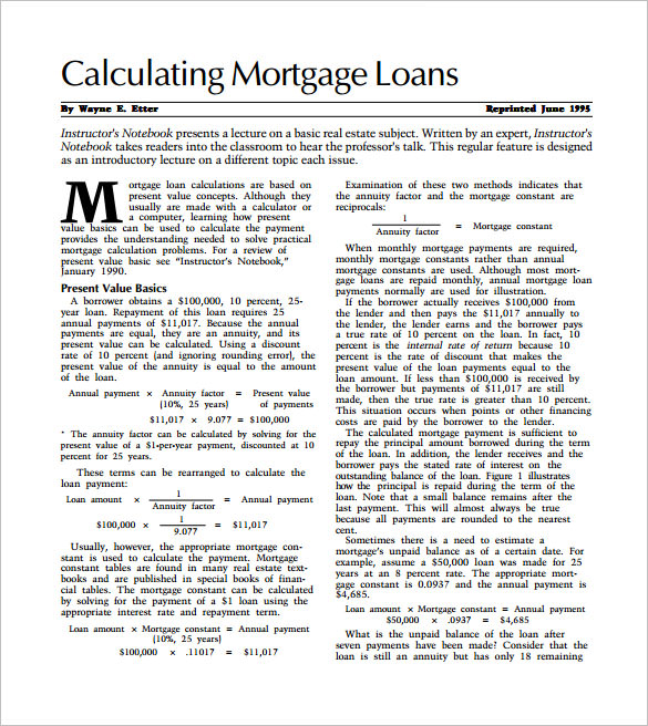 Sample Mortgage Calculator Template   Documents In Pdf  Word