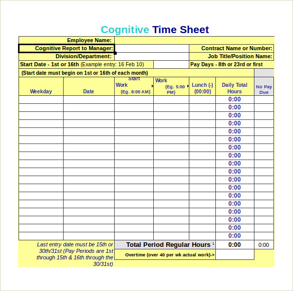 Monthly Timesheet Calculator 7 Free Samples Examples Formats – Monthly Timesheet Calculator
