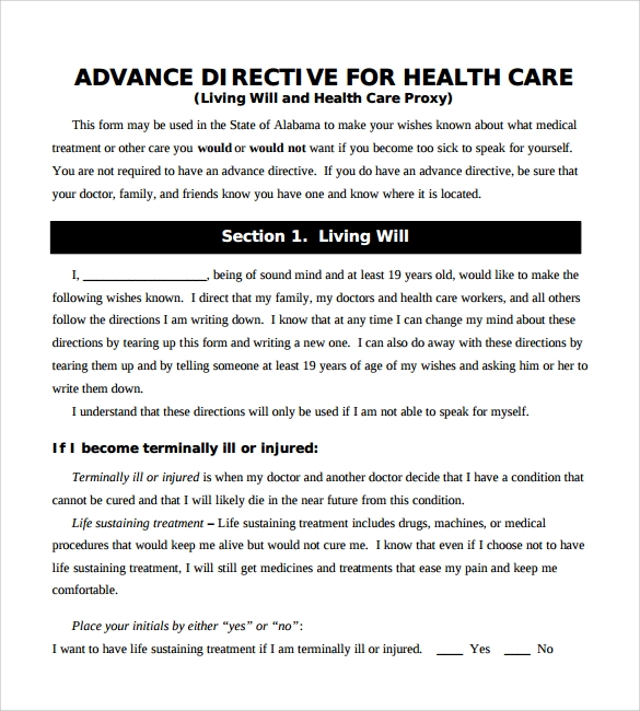 10 advance directive forms samples examples format for Advance care directive template