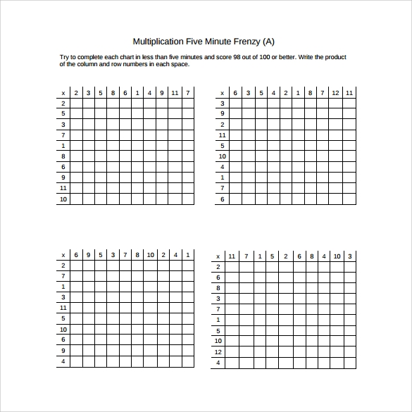 Sample Multiplication Frenzy Worksheet    Free Documents In Pdf