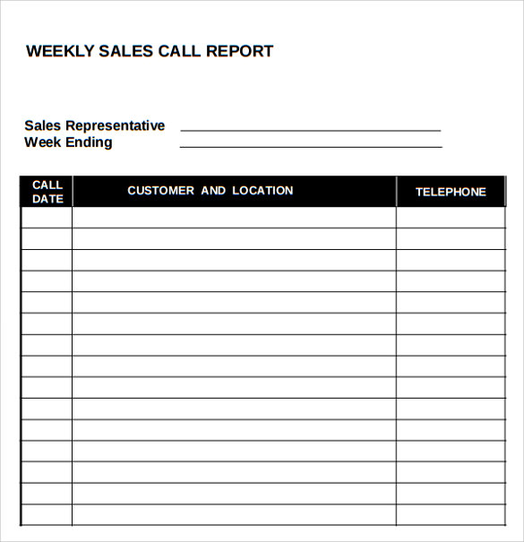 Sample Sales Call Report 7 Documents in PDF Word Excel – Sales Weekly Report Template