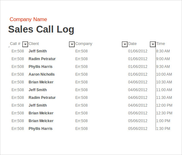 Sample Sales Call Report   Documents In Pdf Word Excel