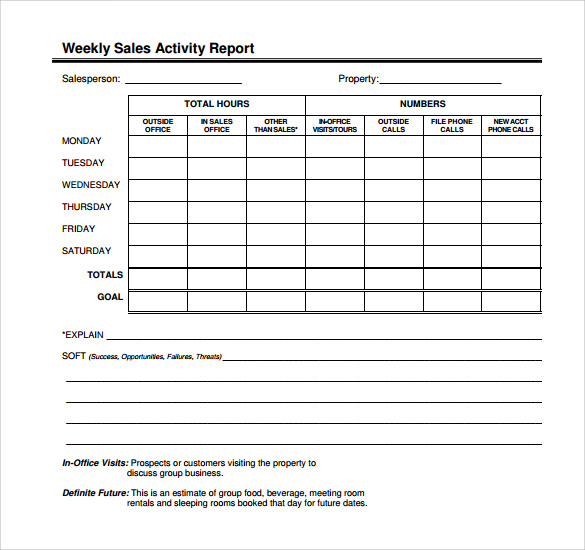 Daily Sales Activity Report Template Printable Editable Blank – Daily Activity Report Template
