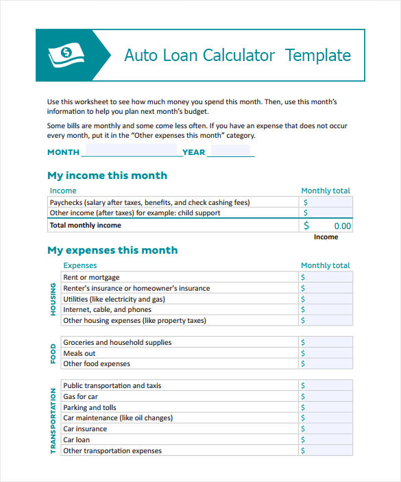Sample Auto Loan Calculator   Documents In Pdf