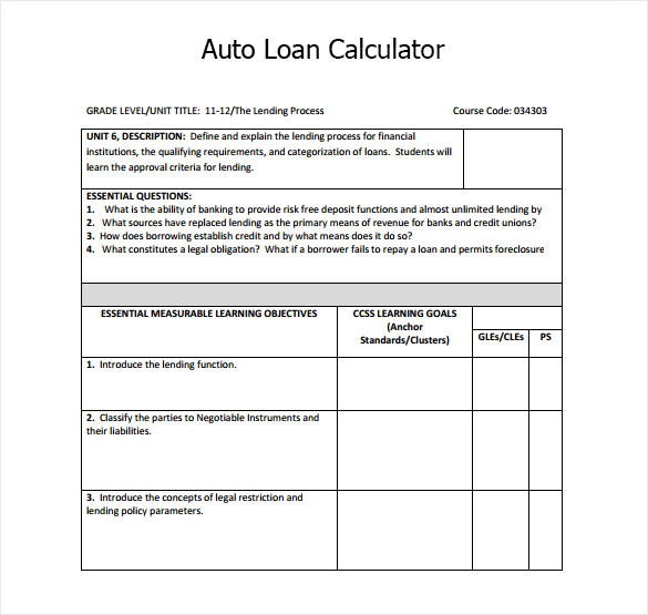 Sample Auto Loan Calculator - 8+ Documents In Pdf