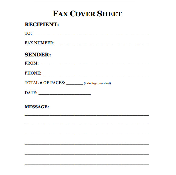 Sample Fax Cover Sheet 9 Examples Format – Fax Cover Sheets Template