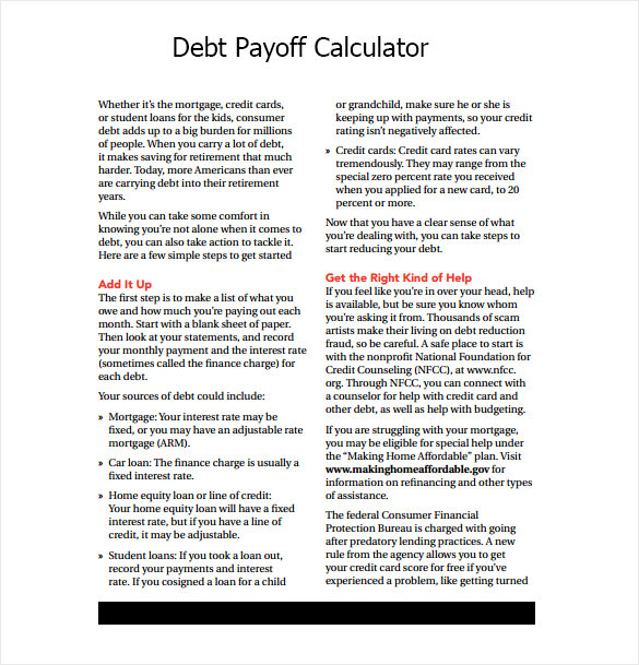 Sample Debt Payoff Calculator - 11+ Documents In Pdf