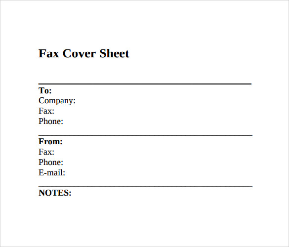 Fax Cover Sheet Sample