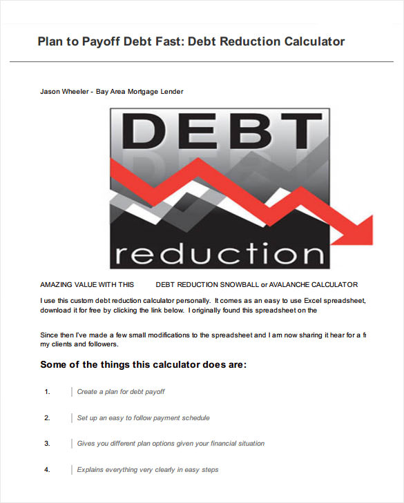 Sample Debt Payoff Calculator   Documents In Pdf