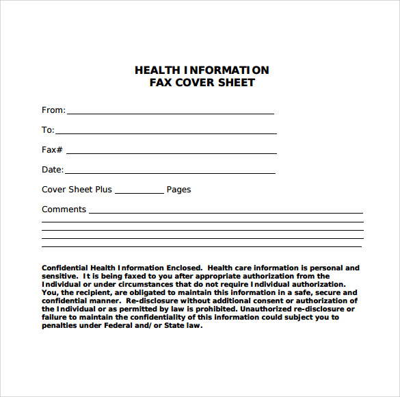 11 sample fax cover sheets sample templates for Health fact sheet template