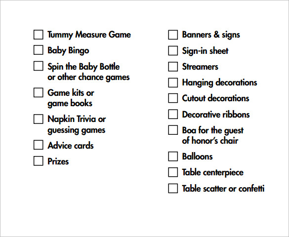 Baby Shower Checklist Templates  Free Sample Example Format