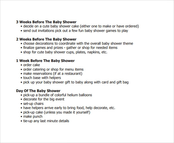 9 Baby Shower Checklist Templates Free Sample Example Format – Sample Baby Shower Checklist