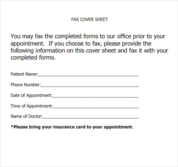 Sample Office Fax Cover Sheet   Documents In Pdf Word