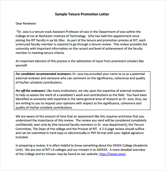 sample tenure promotion letter