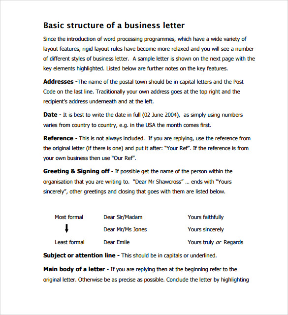 structure of a business letter