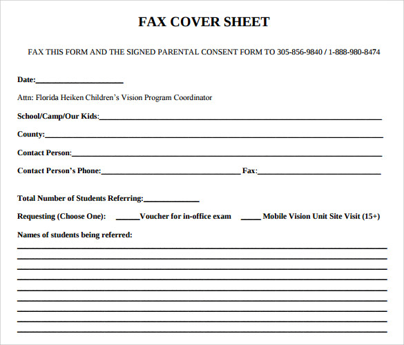 8 Office Fax Cover Sheet Free Sample Example Format