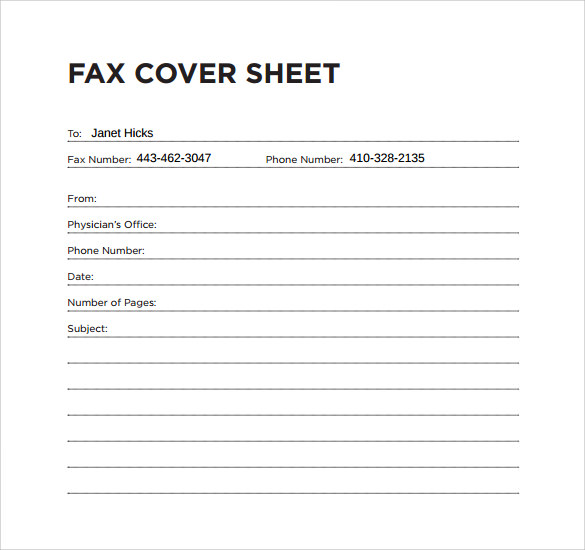 Sample Fax Cover Sheet For Medical Office. Free Fax Cover Sheet ...