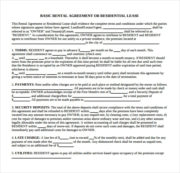 basic rental agreement or residential lease1