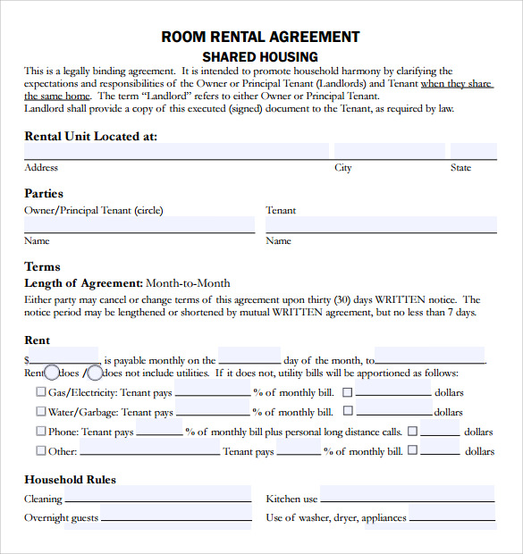 Sample Rental Agreement Template   Free Documents Download In