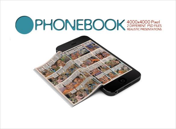 phonebook mockup template