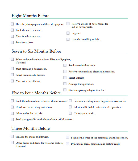 Sample Bridal Shower Checklist   Documents In Pdf