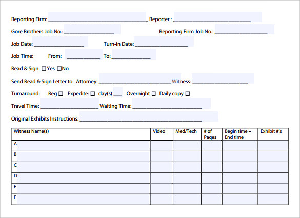Sample Job Sheet Template 7 Free Documents In PDF – Free Job Sheet Template Download