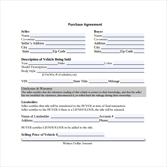 Sample Vehicle Purchase Agreement 9 Documents in PDF – Printable Purchase Agreement
