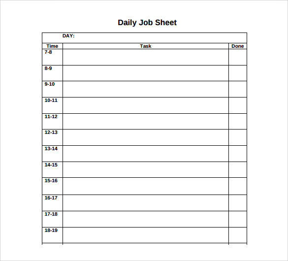 daily job sheet template1