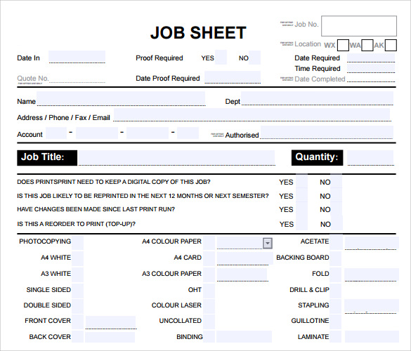 Captivating Job Sheets Examples Ideas Job Sheet Template Free