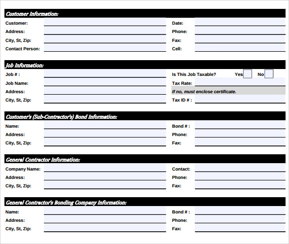 Sample Job Sheet Template    Free Documents In Pdf