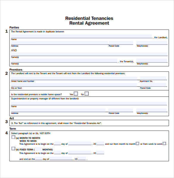 residential rental agreement example1