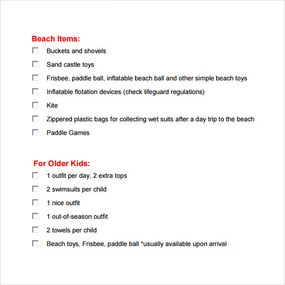 Sample Beach Checklist   Documents In Word