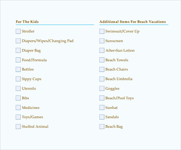 Sample Beach Checklist Beach Checklist Example Sample Beach