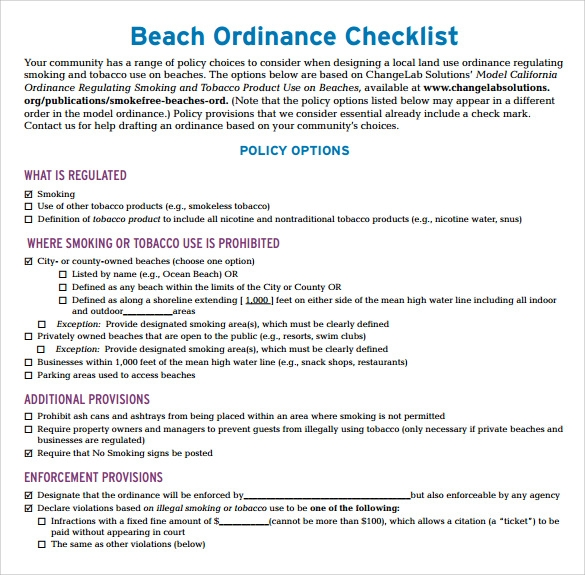 Sample Beach Checklist   Documents In Word Pdf