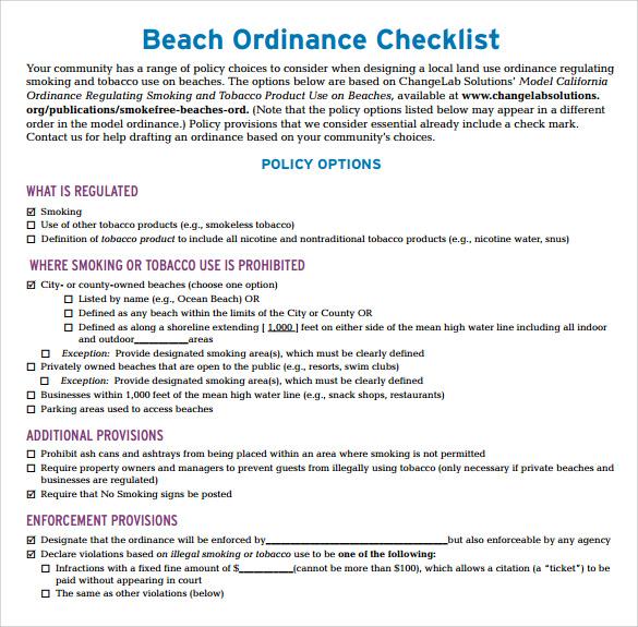 beach checklist pdf