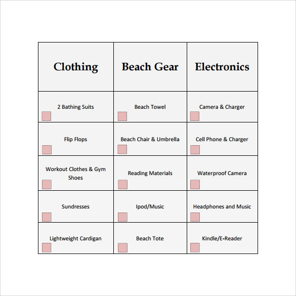 beach vacation checklist example