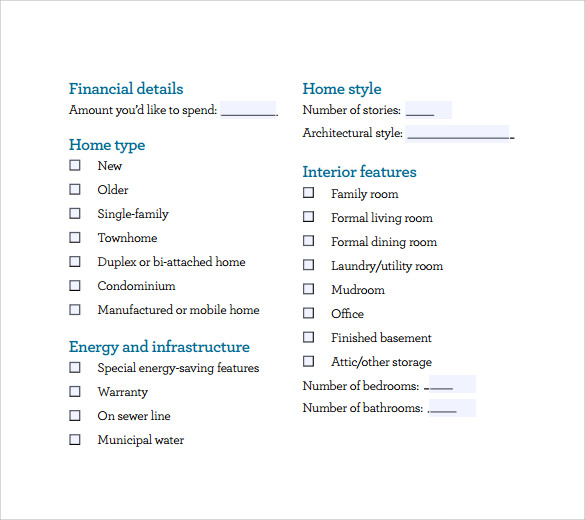 sample home buying checklist in pdf