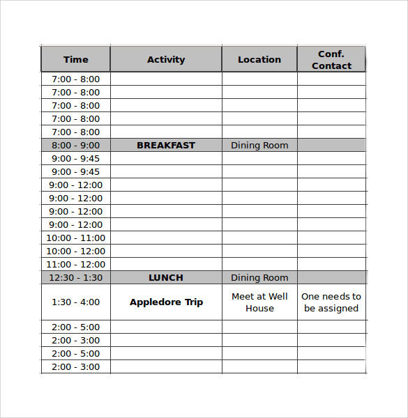 Sample Conference Schedule 12 Documents In PDF Word – Sample Schedule Template