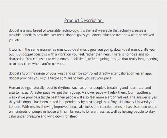printable product description template