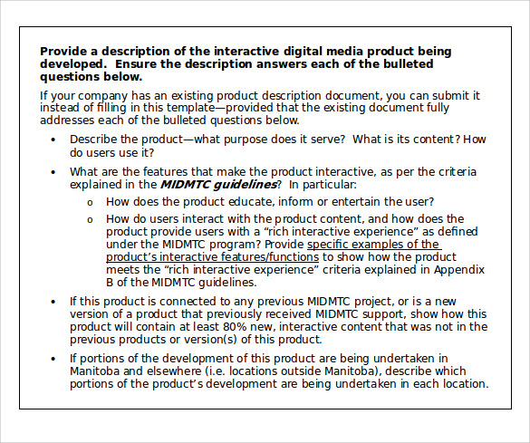 Sample Product Description Template 13 Free Documents Download In