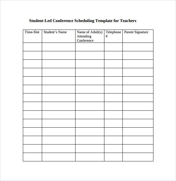 Student Conference Schedule Template For Teachers  Meeting Scheduler Template