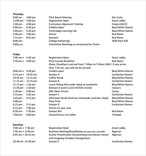 school annual conference schedule