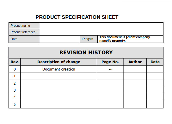 Spec Sheet Sample   Documents In Pdf Word
