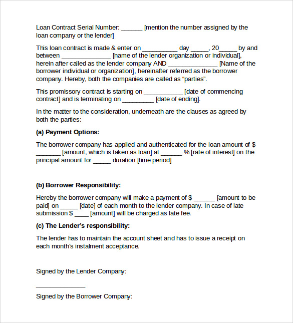 sample loan contract template