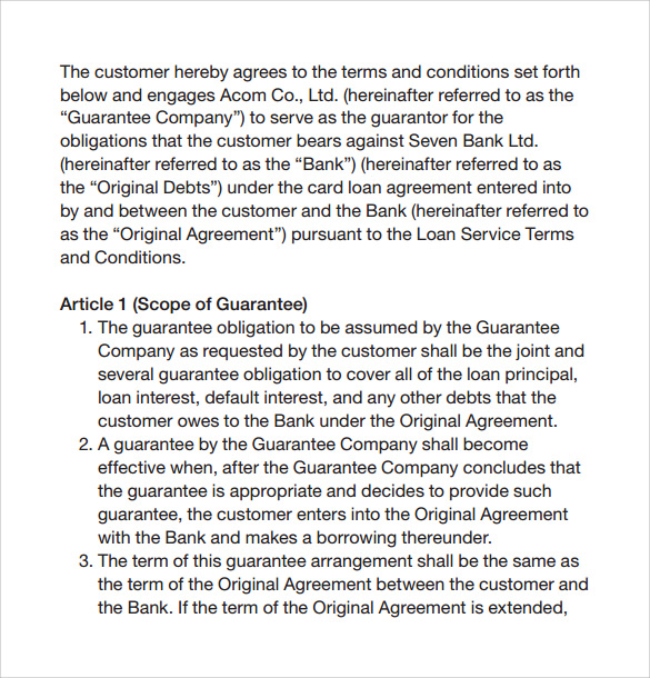 contract on loan service guarantee