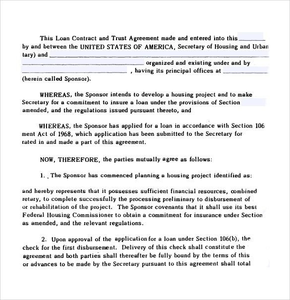 loan contract and trust agreement