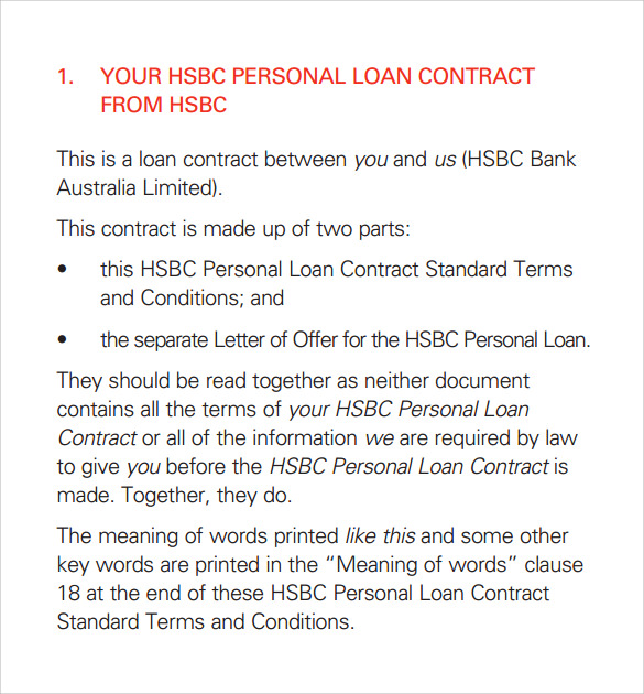 Sample Loan Contract Templates 10 Free Documents in PDF Word – Personal Loan Contracts