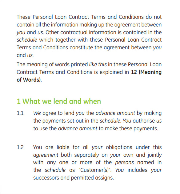 Personal Loan Contract Template  Loan Contract Template Word